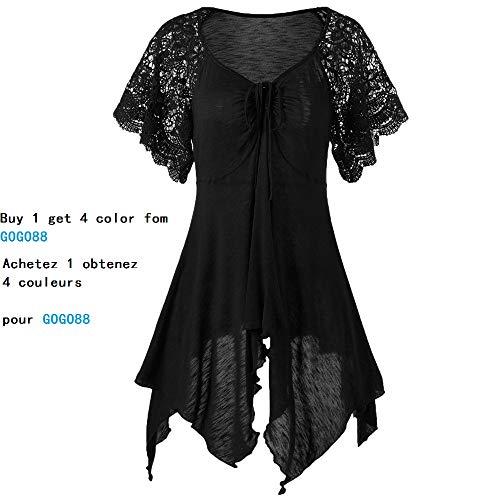 Blouse T-Shirts Femme,LuckyGirls Femme Dentelle Haut Femme Grande Taille Blouse Femme Manche Courte Chemisier Top Femme Vetement Pas Cher T Shirt - Maxi 4XL (3XL, Noir)