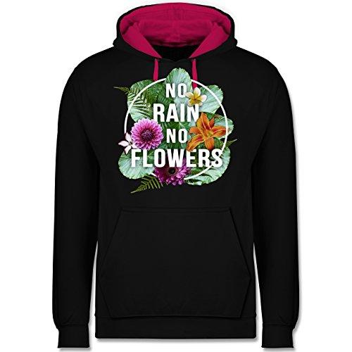 Blumen & Pflanzen - No Rain No Flowers - Kontrast Hoodie Schwarz/Fuchsia
