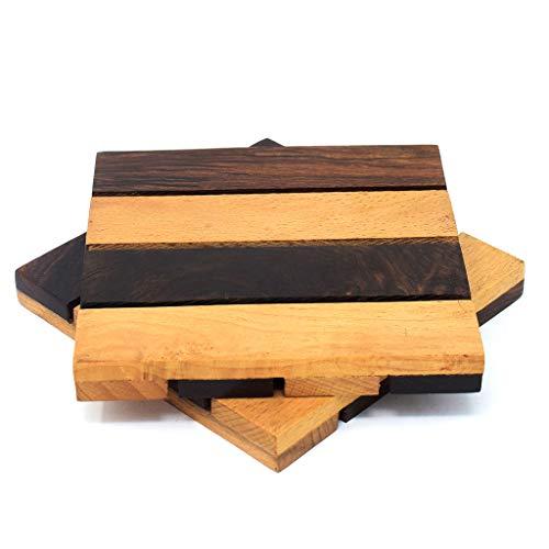 Hashcart Quadratisches Untersetzer-Set für heiße und kalte Getränke, Bierdosen, Kaffeetassen, Untersetzer - Holz wendbar (2 Stück) - Möbel Untersetzer Unternehmen
