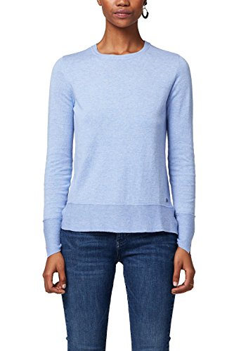 edc by ESPRIT Damen Pullover 127CC1I019, Blau (Light Blue 440), Large