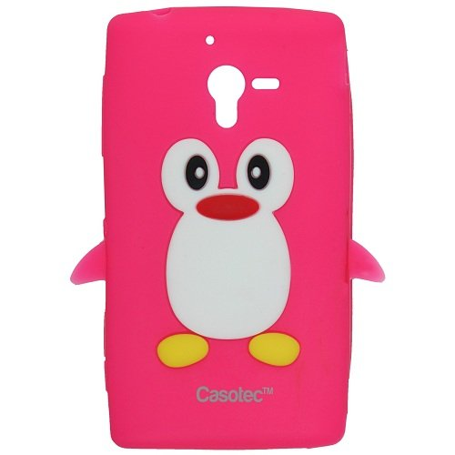 Casotec Penguin Silicone Jelly Back Case Cover for Sony Xperia ZL L35h - Hot Pink  available at amazon for Rs.125