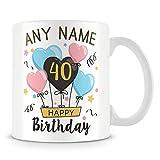 Tazza di caffè, personalizzabile Happy Birthday, età e palloncini in ceramica Coffee Cup, 311,8gram, bianco