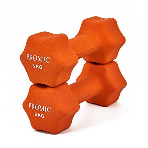 PROMIC  Neopren Hanteln Gewichte für Gymnastik Kurzhanteln- ideal für Aerobic & leichtes Fitnesstraining, 13 verschiedene Gewichte und Farben zur Auswahl (2er-Set), 2 x 6 kg, Orange - 2