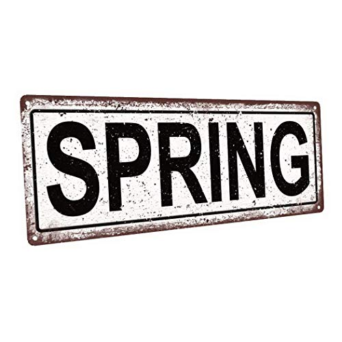 Harvesthouse Outdoor Spring 6x16 Metal Sign, Wall Décor for Seasonal and Holidays -