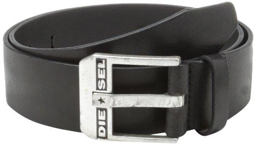 Diesel Herren Gürtel Men Bluestar Echt Leder Silberne Metallschnalle - Offblack: Größe: 85 (Forum Leder)