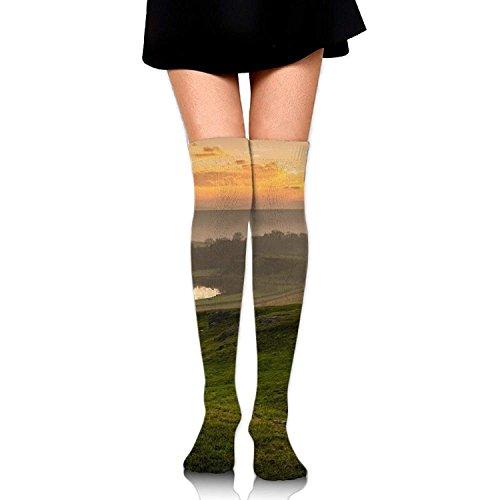 tianjianzulinyouxiangongsi Sunset Dog Look Sky Casual Crew Top Socks,Tube Over Knee Nursing Compression Long Socks,3D Printed Sports for Girls&Women 50CM -