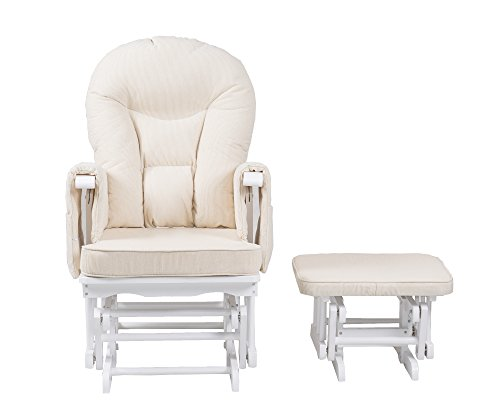 Serenity Nursing Glider maternity chair white with footstool … (White)