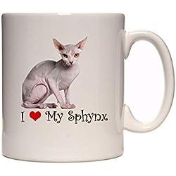 """DottsMusic Tee-/Kaffeetasse mit Aufschrift """"I Love My Sphynx Cat"""", tolle Geschenkidee, für Tierfreunde"""