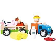 Jouetprive-Tracteur en bois avec animaux à tirer