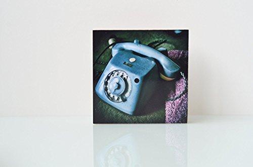 Telefon Lost Place Foto auf Holz, im Quadrat, 10 x 10 cm