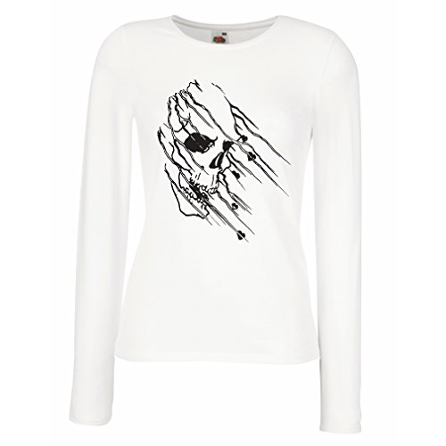 Maniche Lunghe Femminili T-Shirt Art Skull - Vintage t Shirts (Medium Bianco Multicolore)