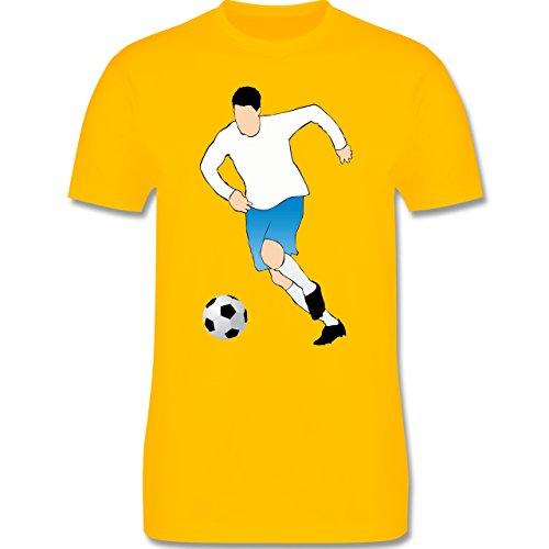 Fußball - Fußballspieler Ballbesitz Angriff Tor - Herren Premium T-Shirt Gelb
