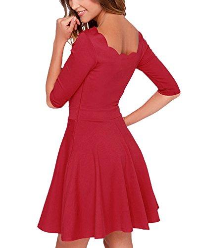 Auxo Donna Vestiti Retro Abiti Sera da Festa Eleganti Gonna a Pieghe Colletto di Pizzo Rosso