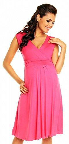 *Zeta Ville Damen Schönes Umstandskleid Sommer Kleid Zum Stillen Geeignet 256c (Fuchsie, EU 42, XL)*