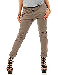 Sublevel Damen Boyfriend Chino Hose LSL-248/LSL-283 inkl. Gürtel light mud brown M