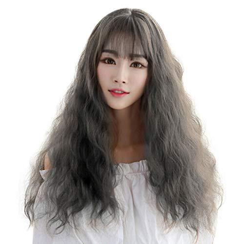 Waselia - Damen Mädchen dunkelbraun Langhaar Locken Welle Party Kostüm Perücken Voll Wig/Wigs Gelockt, Temperamentgesicht des japanischen gelockten Haares des japanischen Perückenmädchens heißes