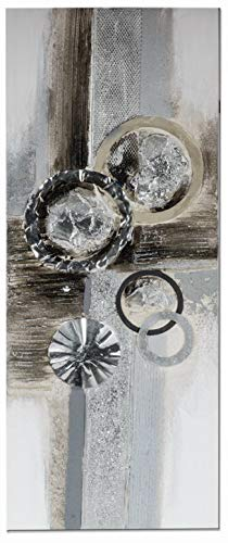 dekojohnson Modernes Extravagantes Kunst-Gemälde Alu-Kreise Holz-Rahmen 100x40cm Groß Vintage Handgemalt Silber Grau Schwarz