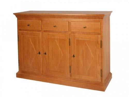 casamia Sideboard Anrichte Grande 3 Türen 3 Schubladen, Holzfront Farbe Pinie Honig