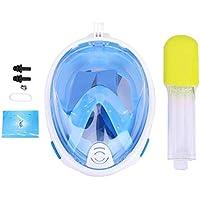 Aramox Máscara de Buceo Máscara de Buceo de Cara Completa Buceo Submarino Máscara de respiración Diseño sin respiración para Soporte de cámara Deportiva(Blue (L/XL))
