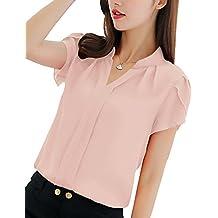 PengGeng Donne Casuale Tinta Unita OL Camicetta Elegante Manica Corta  Ufficio Camicia T-Shirt ca39e31e579