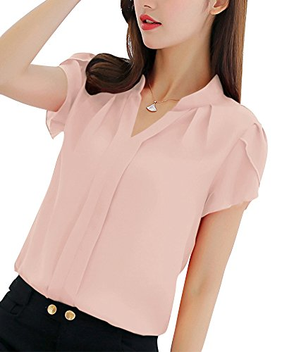 PengGeng Mujeres Camisa Manga Corta Color Sólido Blusa Ocasional Oficina Camiseta Pink S