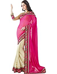 Royal Choice Women's Faux Georgette Saree (Pink And Half White)
