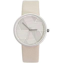 Chronomart Nafisa Women's Fashion Stripes Dial Leather Strap Beige Wrist Watch NA-0051