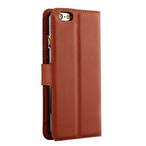 Phone case & Hülle Für iPhone 6 / 6s, Litchi Textur Horizontale Flip Leder Tasche mit Halter & Card Slots & Wallet ( Color : Black ) Brown