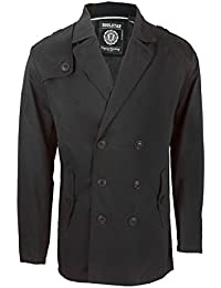 Soul Star Mens Columbia Double Breasted Pea Coat Short Trench Mac Overcoat Jacket In Black, Tan