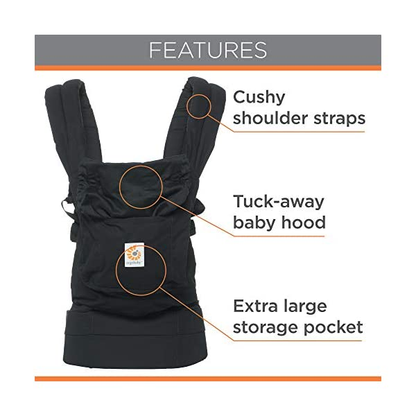 """Ergobaby Baby Carrier for Toddler Pure Black, Original 3-Position Child Carrier 5.5 to 20kg with Lumbar Support, Front Backpack Ergobaby Ergonomic babycarrier - ergonomic for baby with wide deep seat for a spread-squat, natural """"m"""" seated position. Baby carrying system with 3carry positions:  front-inward, hip and back. from baby to toddler: 5.5*-20kg Maximum wearing comfort - lumbar support waist belt (adjustable from 66-140cm / 26-52in) that can be adjusted to the height of the carry position. 6"""