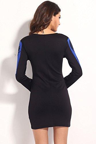 E-Girl Deman Schwarz Weiß SY21000-1 minikleid Schwarz Blau