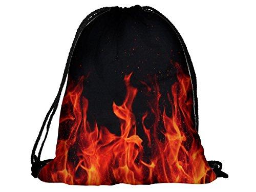 Sacca sportiva a tracolla per l'allenamento, ma non solo. Ultra leggero lifestyle viaggio borsa borsetta palestra zaino a spalla trend sport per uomini donne ragazzi ragazze bambini, RU-82 Flammen