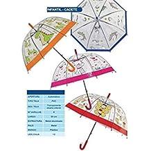 Paraguas Infantil 66cm Automatico Transparente DiseÑo Surtido A Elegir 1