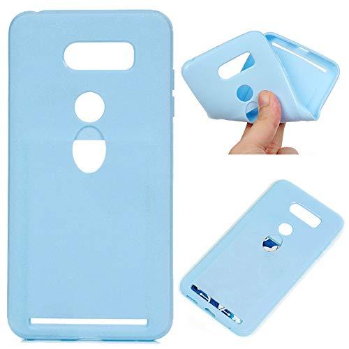 Edauto Silikon Case für LG G7 ThinQ Hülle Handyhülle Handytasche Schutzhülle Candy Farbe Kartensteckplatz Handyschale Tasche TPU Schale Soft Etui Cover Hellblau