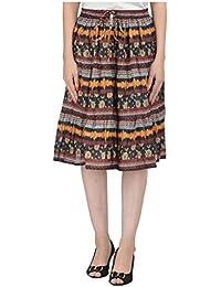 COTTON BREEZE Women's Cotton A-line Skirt (FP540, Multicolour, Free Size)