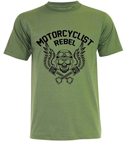 PALLAS Unisex's Motorcycle Club Rebel Vintage T Shirt Jungle Green