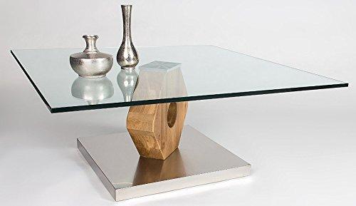 Table basse en bois chêne Sauvage avec plateau en verre - Dim : 90 x 90 x 38 cm -PEGANE-