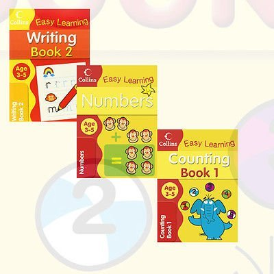 Collins Easy Learning Preschool Children's Books Collection 2 Books Bundle (Writing Workbook Ages 3-5: New Edition,Numbers Ages 3-5: New Edition,Writing Ages 3-5: New Edition)