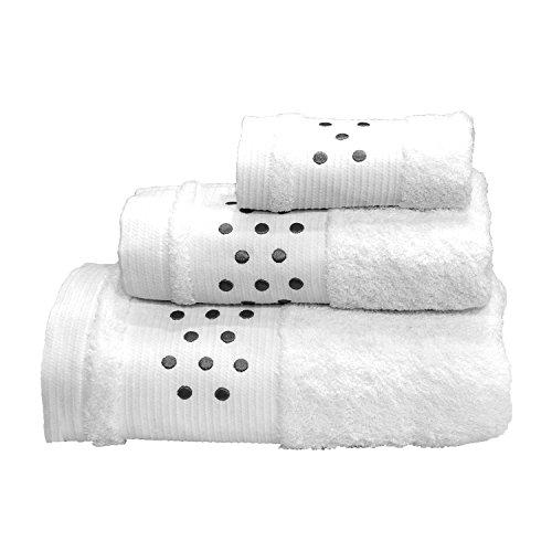 Lunares Toallas De Baño De 3Piezas–Juego de toallas de baño + Toalla de mano +–Toalla de tocador, color blanco w/Gray