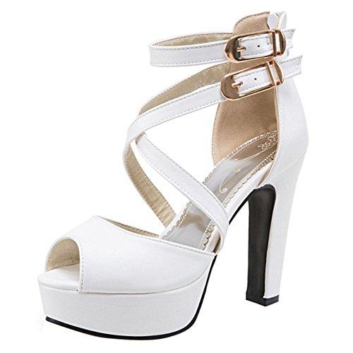 RAZAMAZA Damen Blockabsatz Gladiator Sandalen Plateau High Heel Party Schuhe (34 EU, White) Dance High Heel Heels