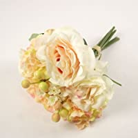 Meena Supplies Premium Hand Tied Bouquet of Roses and Hydrangea Peach - Artificial Flowers