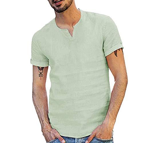 Herren Hemden Leinen Kurzarm T-Shirts Baumwolle Leinenshirt V-Ausschnitt Button Down T-Shirt Einfarbig Shirts Mode Freizeit Oberteile Crew Neck Hoodie Mode Lose Kurzarmshirt Slim Fit Sweatshirt - Button-down V-neck T-shirt