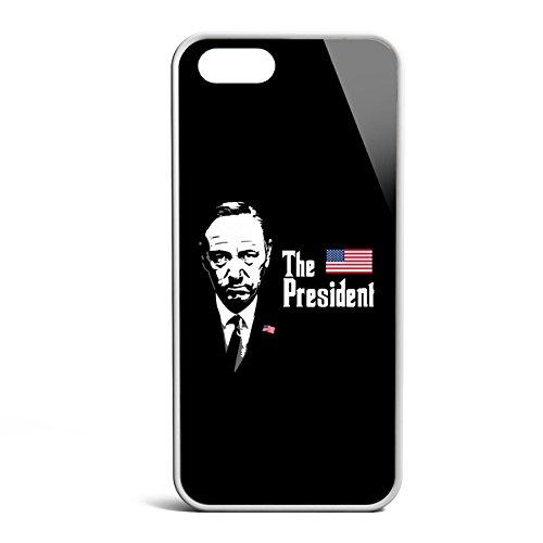 Smartcover Case The President z.B. für Iphone 5 / 5S, Iphone 6 / 6S, Samsung S6 und S6 EDGE mit griffigem Gummirand und coolem Print, Smartphone Hülle:Samsung S6 EDGE weiss Iphone 5 / 5S weiss