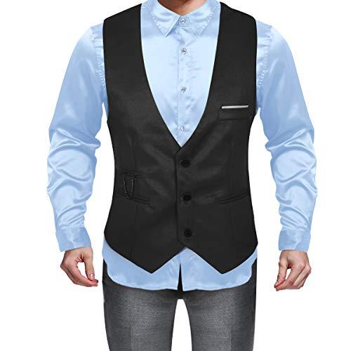 iEFiEL Herren Smoking Weste Anzug Gentleman Klassisch Basic Mode Einreiher DREI Knöpfe Weste Business Festzug Slim Fit Schwarz XXXX-Large