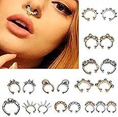 Ranchoman 20 Pcs 12mm Fake Septum Clicker Nose Ring Non Piercing Hanger Clip Body Jewelry