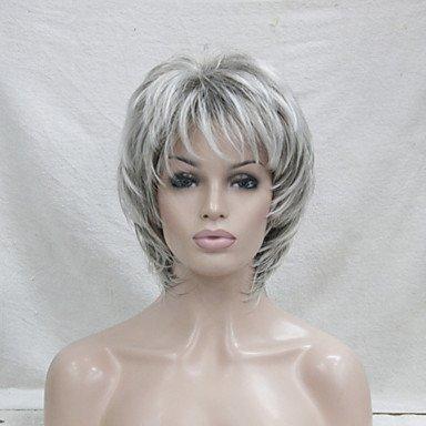 Damen Synthetische Perücke kurz wellig grau gesträhntes/F.a.M.E. Hair Collections Layered Haarschnitt Pixie Schnitt mit Pony natur Perücken Kostüm ()
