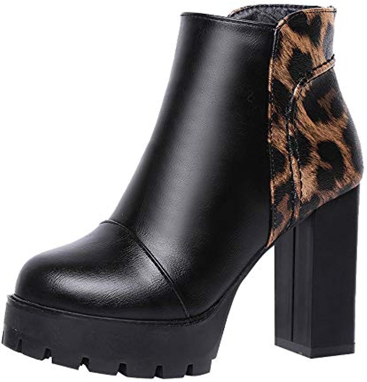 RBNB-bottes Chaussures femme Hiver Chaussures RBNB-bottes à Fermeture éclair Cuir Party Boots Chaussure de Sport Bout Rond Basket Daim...B07K42BS5LParent ffbafa