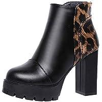 Toamen Zapatos De Cremallera Lateral para Mujeres, Botas De Cuero Martin Botines Cuadrados De TacóN Alto