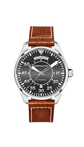 HAMILTON MEN'S 42MM BROWN LEATHER BAND STEEL CASE AUTOMATIC WATCH H64615585