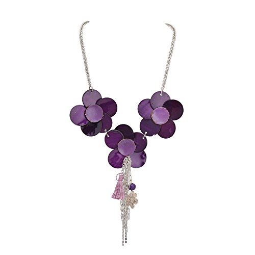 Zephyrr Necklace Purple Flower Pendants with Dangling Silver Chains & Tassel for Women and Girls